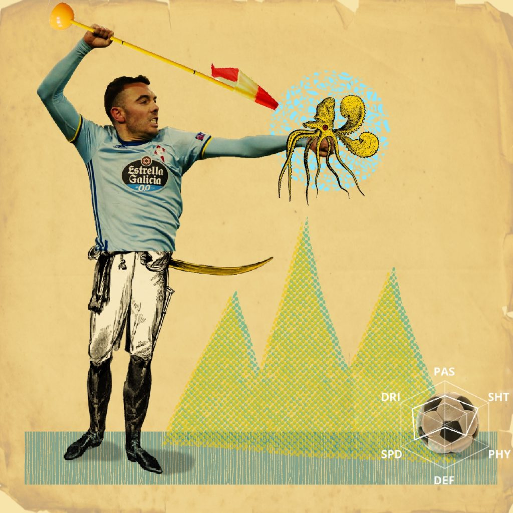 Iago Aspas Collage. Sports illustration.