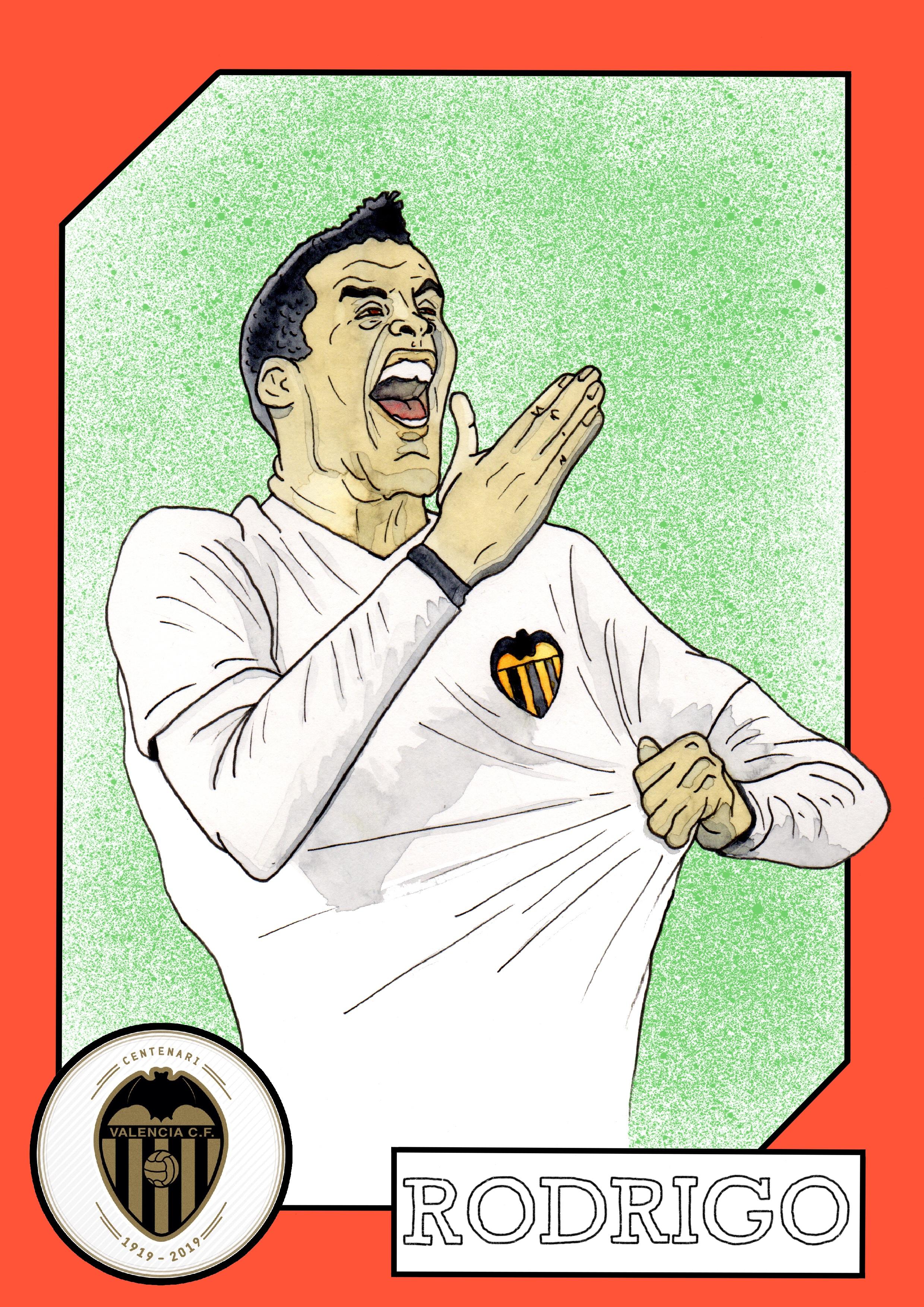 Rodrigo Moreno. Watercolor illustration.