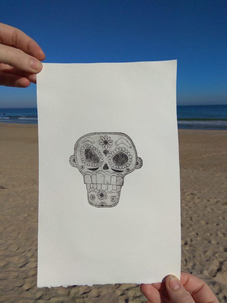 Engraved skull: stamp