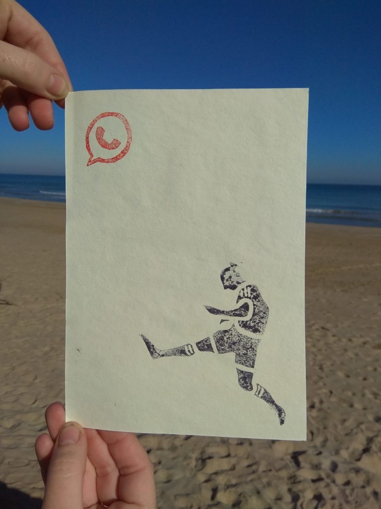 Engraved football player: stamp