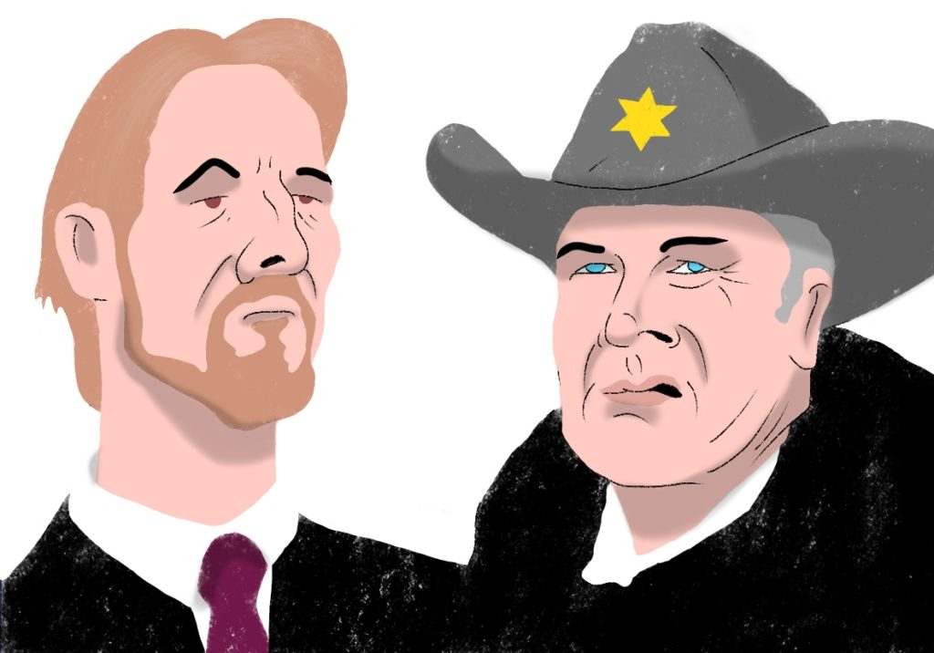 Hans Gruber and Sheriff Teasle.
