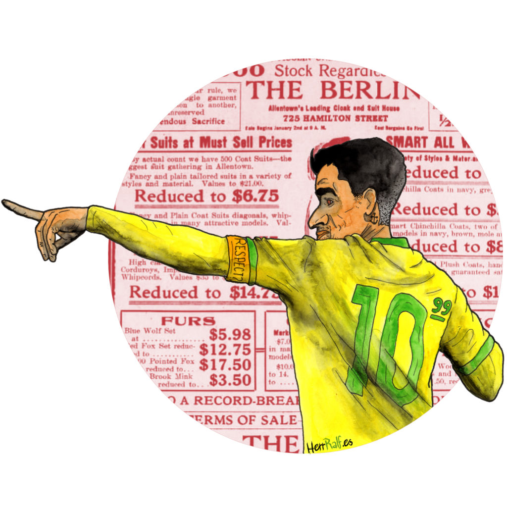Philippe Coutinho. Brazil. Watercolor Illustration.