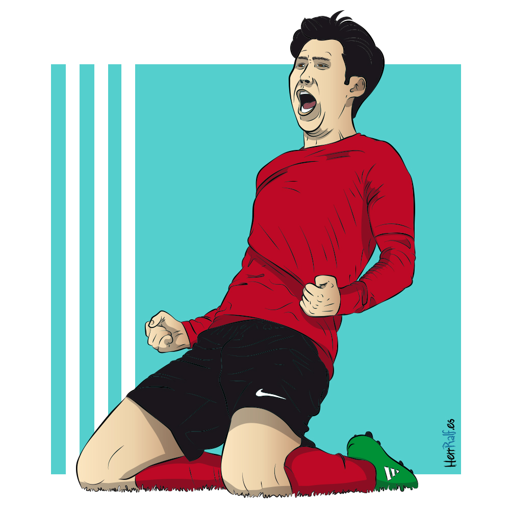 Son Heung-Min. South Korea. Digital Illustration.