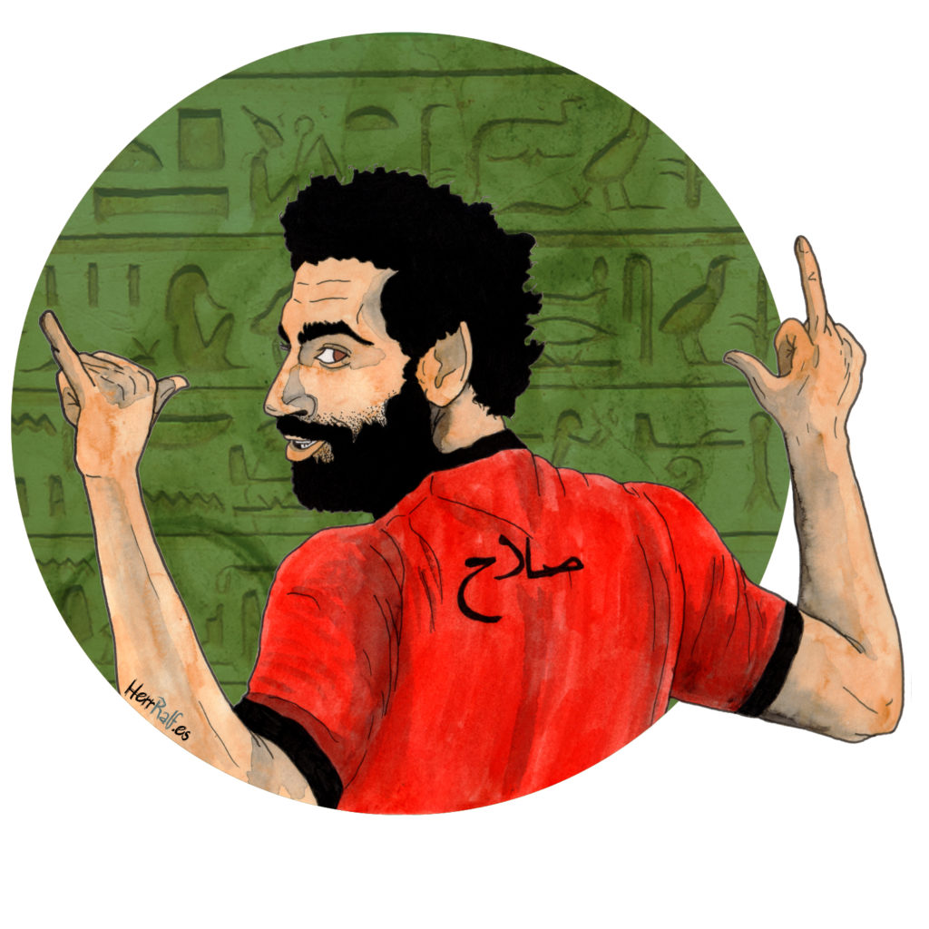 Mohamed Salah. Egypt. Watercolor Illustration.