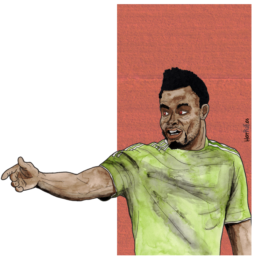 John Obi Mikel. Nigeria. Watercolor Illustration.