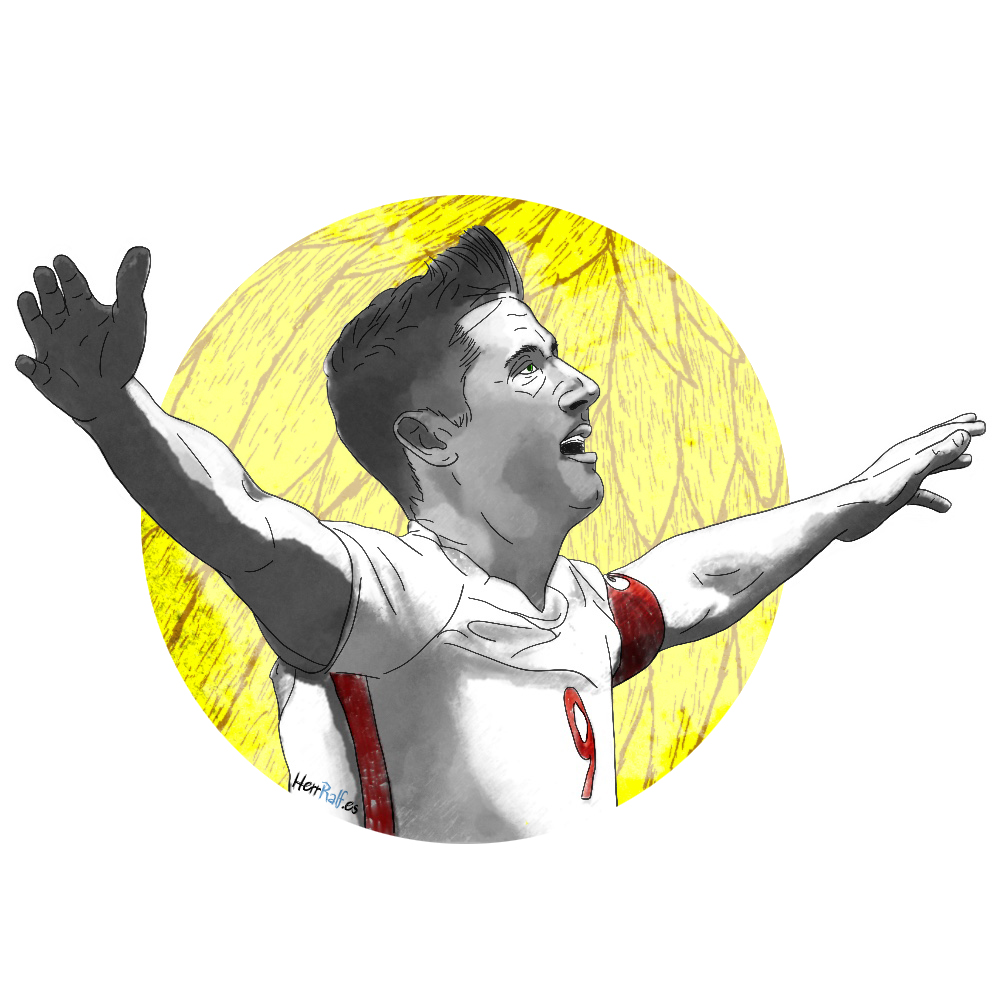 Robert Lewandowski. Poland. Digital Illustration.